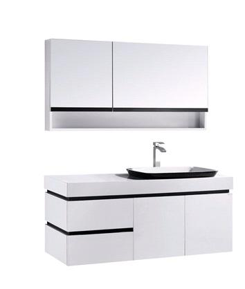 OLS-BC6019-1200  БелаяМебель для ванной<br>Материал: крашенный МДФ 18 мм, выдвижные ящики с доводчиками DTC и двумя распашными дверями, столешница из искусственного камня, цвет МДФ: белый глянец, раковина: искусственный камень, с выпуском Push Open, зеркальный шкаф: распашной ящик(слева),распашной ящик с дверцей, открывающейся вверх(справа). В цену учитывается зеркало-шкаф.<br>