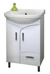 Эколайн 55 Красно-белая полосаМебель для ванной<br>Тумба под раковину Санта Эколайн 55 напольная.  Петли с плавным закрыванием, ящики полного выдвижения. Раковина приобретается отдельно.<br>