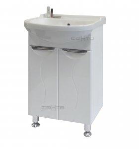 Полис 60 БелаяМебель для ванной<br>Тумба под раковину Санта Полис 60.  Покрытие фасад, корпус - эмаль, петли с плавным закрыванием, ящики полного выдвижения. Раковина приобретается отдельно.<br>