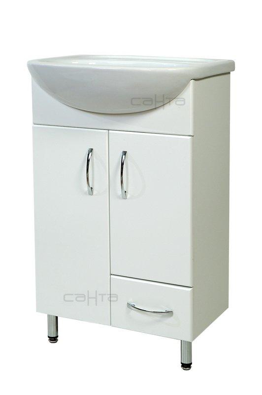 Сити 50 2 двери 1 ящик БелаяМебель для ванной<br>Тумба под раковину Санта Стандарт Сити 50 2 двери 1 ящик. Покрытие фасад - пленка. Раковина приобретается отдельно.<br>