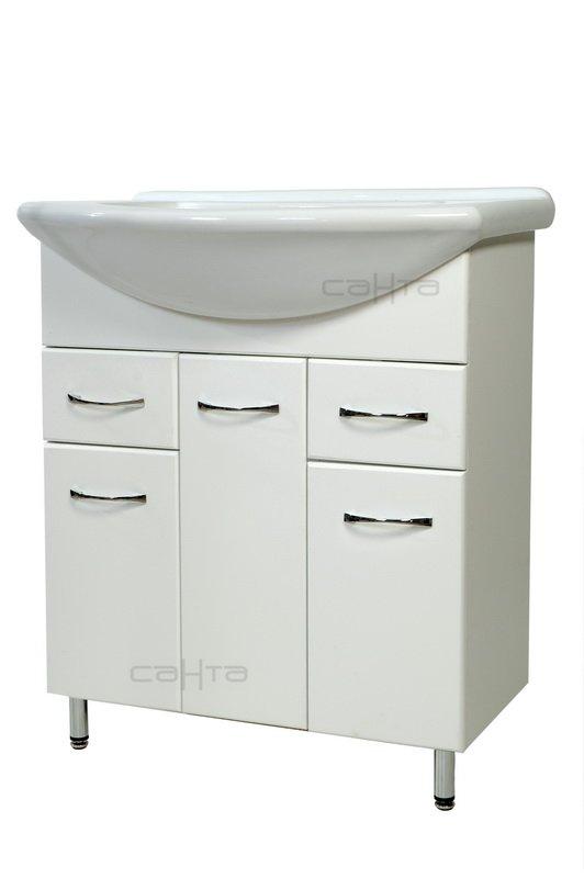 Модерн 75 БелаяМебель для ванной<br>Тумба под раковину Санта Модерн 75 с 2 ящиками.  Покрытие фасад - пленка. Раковина приобретается отдельно.<br>