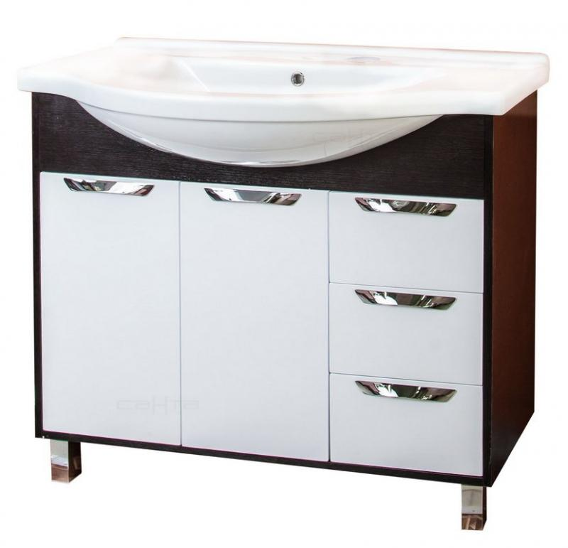 Турин 100 3 ящика Белая/венгеМебель для ванной<br>Тумба под раковину Санта Турин 100 с 3 ящиками напольная. Покрытие фасад - пленка, петли с плавным закрыванием, ящики полного выдвижения.<br>