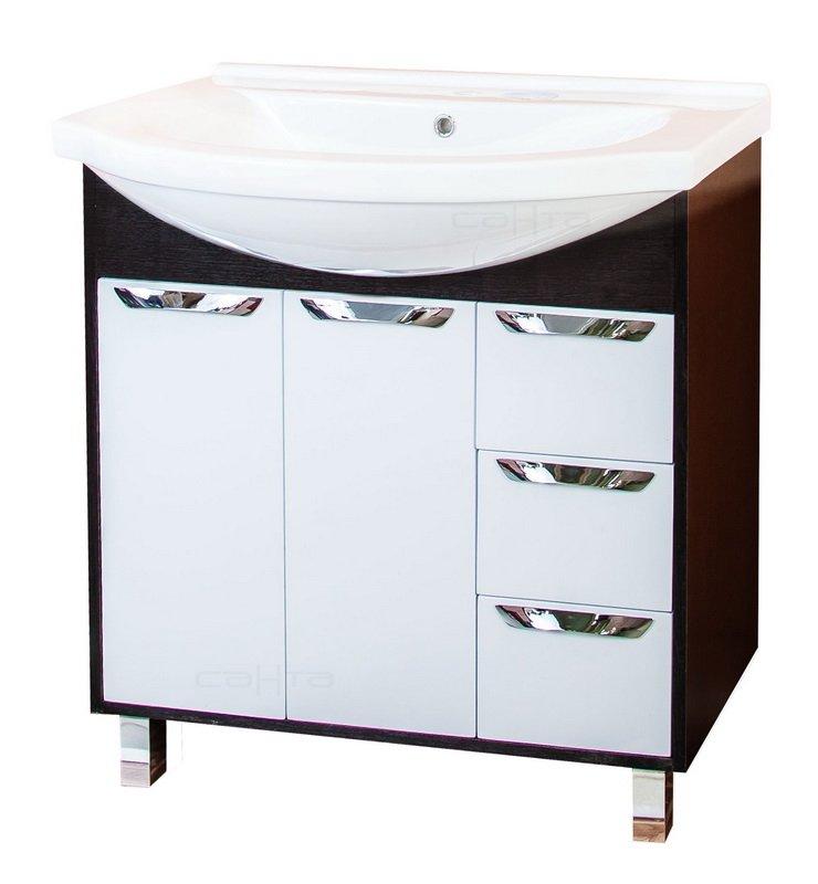 Турин 80 3 ящика Белая/венгеМебель для ванной<br>Тумба под раковину Санта Турин 80 с 3 ящиками напольная. Покрытие фасад - пленка, петли с плавным закрыванием, ящики полного выдвижения.<br>