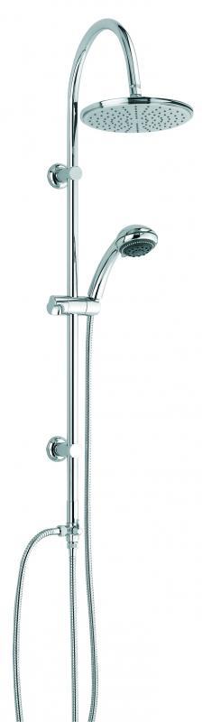Ska с тропическим душем ХромДушевые гарнитуры<br>Душевой гарнитур с тропическим душем Valentin Ska. В комплекте поставки: ручной душ c 3-х позиционной массажной лейкой регулируемый по высоте и наклону, гибкий шланг 1750 мм, верхний тропический душ D=210 мм(ABS), душевая штанга из латуни, гибкий шланг подвода к смесителю 750 мм.<br>