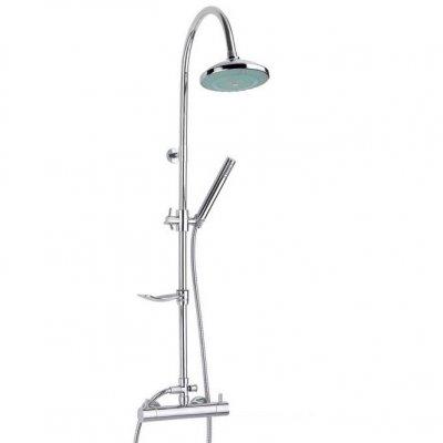 Luminocolour ХромДушевые системы<br>Душевая система Valentin Luminocolour. Комплектация: ручной душ регулируемый по высоте и наклону, гибкий шланг 1750 мм., верхний тропический душ D=210 мм.(ABS) с функцией подсветки по всей площади, душевая штанга с фиксирующийся на ней мыльницей, адаптированный термостатичский смеситель.<br>