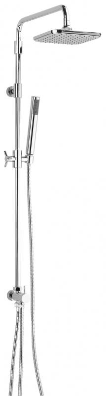 Groove с тропическим душем ХромДушевые системы<br>Душевой гарнитур с тропическим душем Valentin Groove. В комплекте поставки: ручной душ с регулируемым по высоте и наклону держателем, гибкий шланг 1750 мм, верхний тропический душ 180 мм(ABS), гибкий шланг с подводкой к смесителю 750мм.<br>