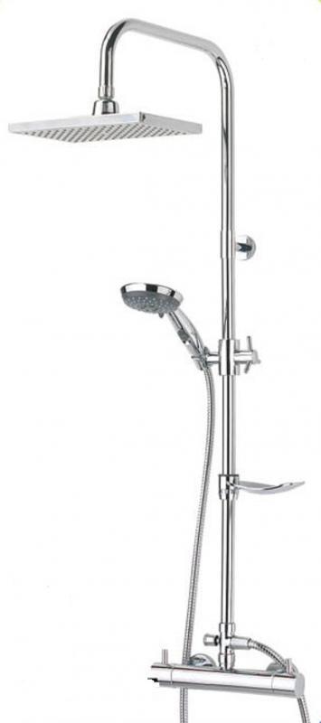 Key West ХромДушевые системы<br>Душевая система Valentin Key West. Комплектация: ручной душ c 2-х позиционной массажной лейкой с функцией STOP регулируемый по высоте и наклону, гибкий шланг 1750 мм., верхний тропический душ 250х160 мм.(ABS), душевая штанга из нержавеющей стали с закрепляющейся мыльницей, адаптированный термостатический смеситель.<br>