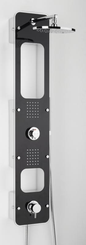 Lux ЧерныйДушевые панели<br>Душевая панель Valentin Lux. Комплектация: панель выполнена из закаленного небьющегося стекла NB на анодированном  алюминиевым профиле, верхний тропический душ D = 200 мм. (латунь), 2 гидромассажных сектора по 30 сопел каждый с автоматической системой самоочистки , 2 полочки защищенные от попадания воды оснащенные светодиодной подсветкой , ручной душ, гибкий шланг 1750мм., адаптированный термостатический смеситель  NF.<br>