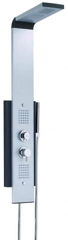 Dune Серый металликДушевые панели<br>Душевая система Valentin Dune. Комплектация: 2 гидромассажных сектора по 30 сопел каждый, верхний 2-х секторный тропический душ с системой автоматической самоочистки Quick Clean, ручной душ, алюминиевая панель с адаптированным термостатическим смесителем.<br>