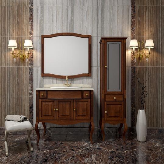 Лаура 100 орех комбинированная Орех с чёрной патинойМебель для ванной<br>Комплект мебели для ванной комнаты Opadiris Лаура 100. В комплект поставки входят тумбу напольную, мраморную столешницу с накладной керамической раковиной Vidima Box, зеркало.<br>