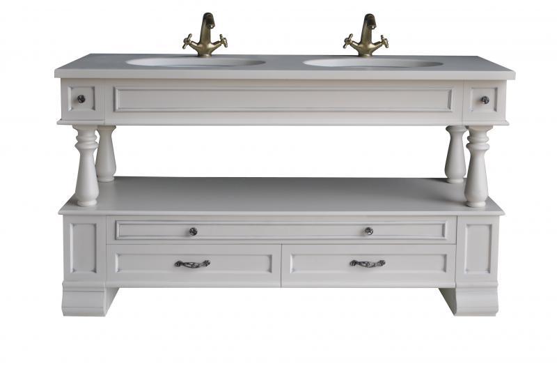 Джулия двойная СереброМебель для ванной<br>Тумба под две раковины Атолл Джулия 150 напольная. Раковины со столешницей в комплекте.<br>