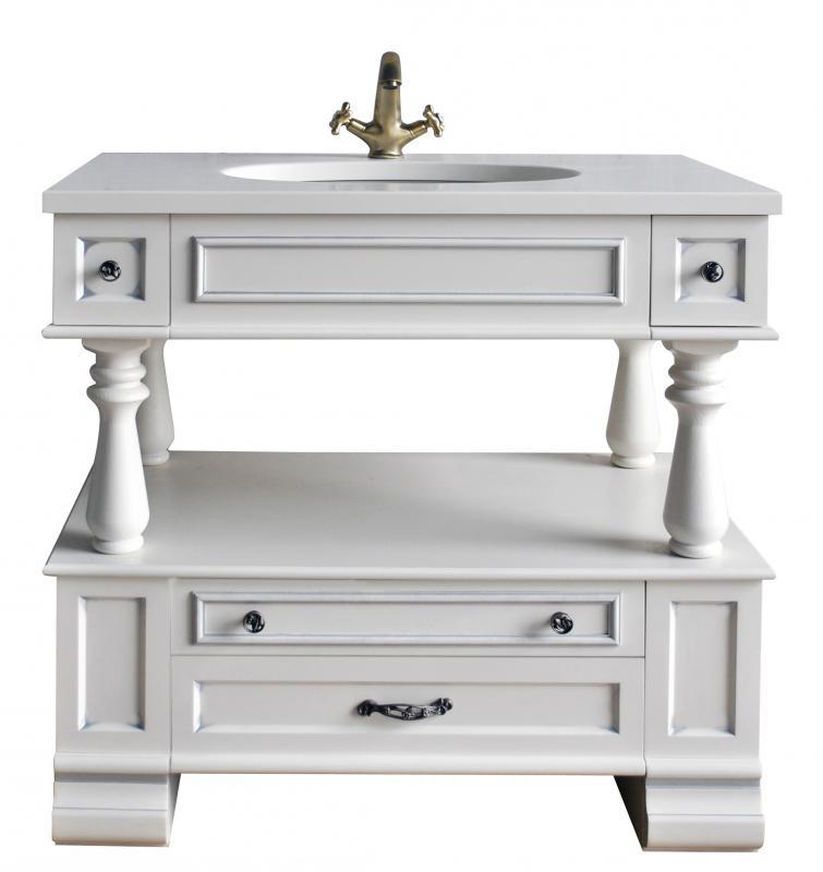 Джулия СереброМебель для ванной<br>Тумба под раковину Атолл Джулия 95 напольная. Раковина со столешницей в комплекте.<br>