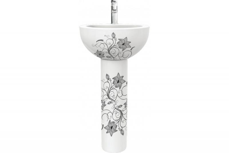 цена на Раковина Sanita Luxe Art Flora ARTSLWB10 Белая с узором