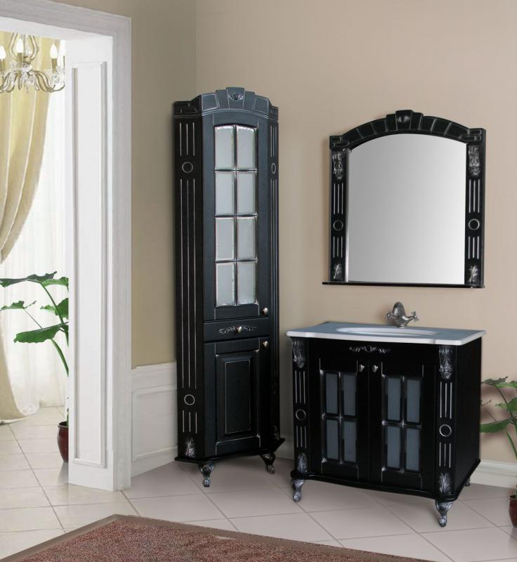 Александрия 85K ivory (серебро)Мебель для ванной<br>Тумба Атолл Александрия 85K со встроенной столешницей Devit.<br>