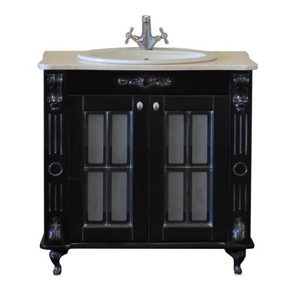 Александрия 85 black (чёрный патина серебро)Мебель для ванной<br>Тумба Атолл Александрия 85 со встроенной раковиной Vidima W504801.<br>