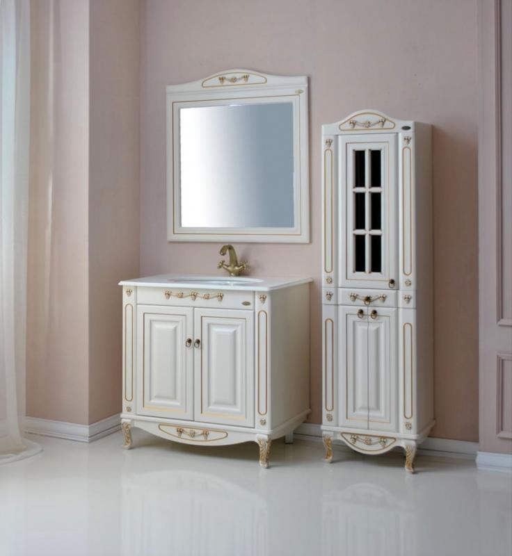 Верона 85К  dorato (золото)Мебель для ванной<br>Тумба с раковиной Атолл Верона 85K со встроенной столешницей и раковиной Devit.<br>