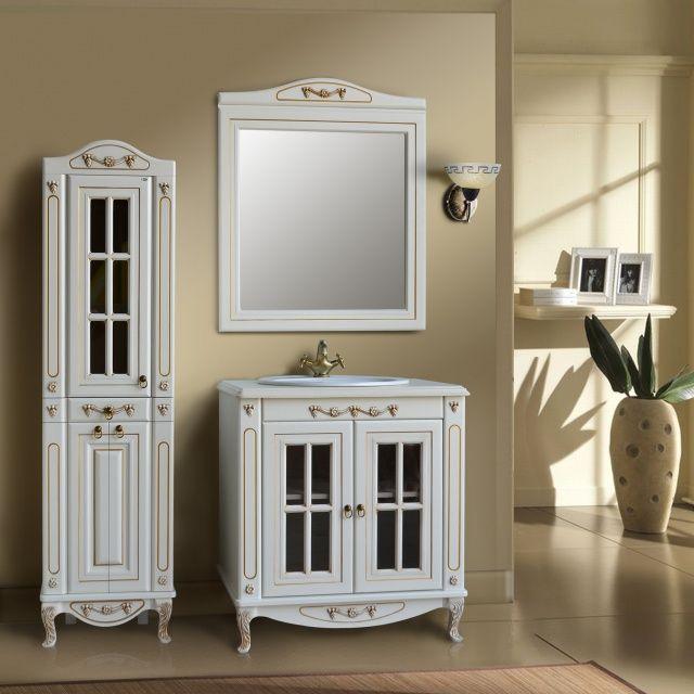 Верона 85 витрина dorato (золото)Мебель для ванной<br>Тумба Атолл Верона 85 витрина со встроенной столешницей и раковиной Vidima W504801.<br>