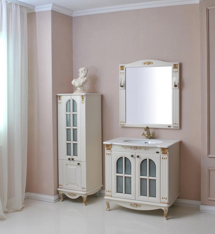 Венеция 290 ivory (серебро)Мебель для ванной<br>Тумба Атолл Венеция 290 со встроенной столешницей и раковиной Devit.<br>