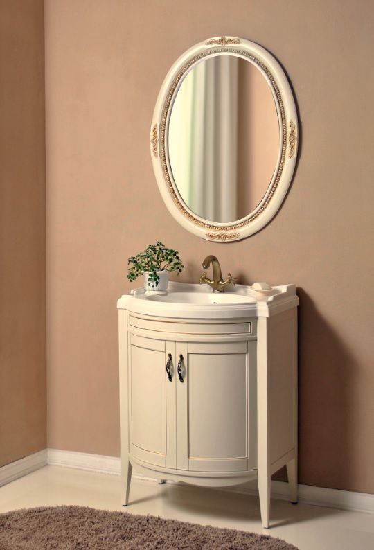 Неаполь 73 ivory (серебро)Мебель для ванной<br>Тумба Атолл Неаполь 73 в комплекте с раковиной.<br>