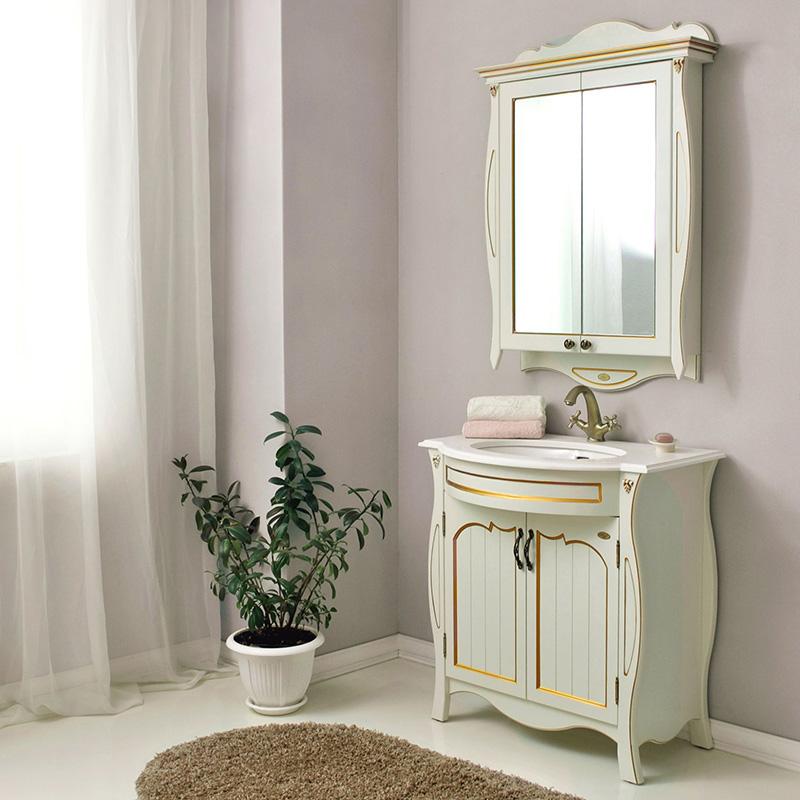 Ривьера  apricot (персик)Мебель для ванной<br>Тумба с раковиной Атолл Ривьера со встроенной столешницей и раковиной Devit.<br>