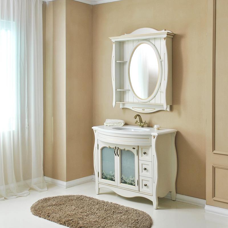Ривьера 100 ivory (серебро)Мебель дл ванной<br>Тумба с раковиной Атолл Ривьера 100 со встроенной столешницей и раковиной Villeroy&amp;Bosh (O.Novo).<br>
