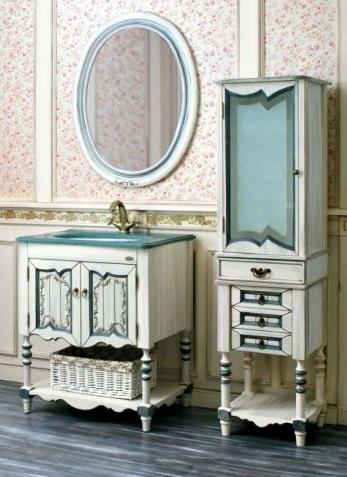 Флоренция  ivory old (синяя патина)Мебель для ванной<br>Тумба Атолл Флоренция со встроенной столешницей и раковиной Devit.<br>