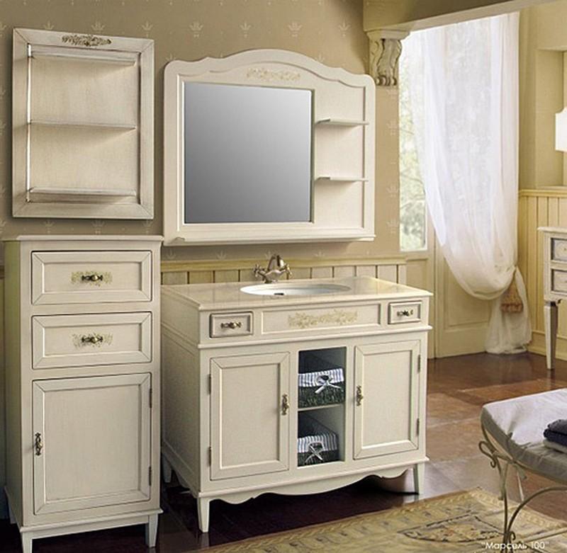 Марсель 210 Old ivory (слоновая кость состаренная)Мебель для ванной<br>Тумба с раковиной Атолл Марсель 210 со встроенной столешницей и раковиной Devit.<br>
