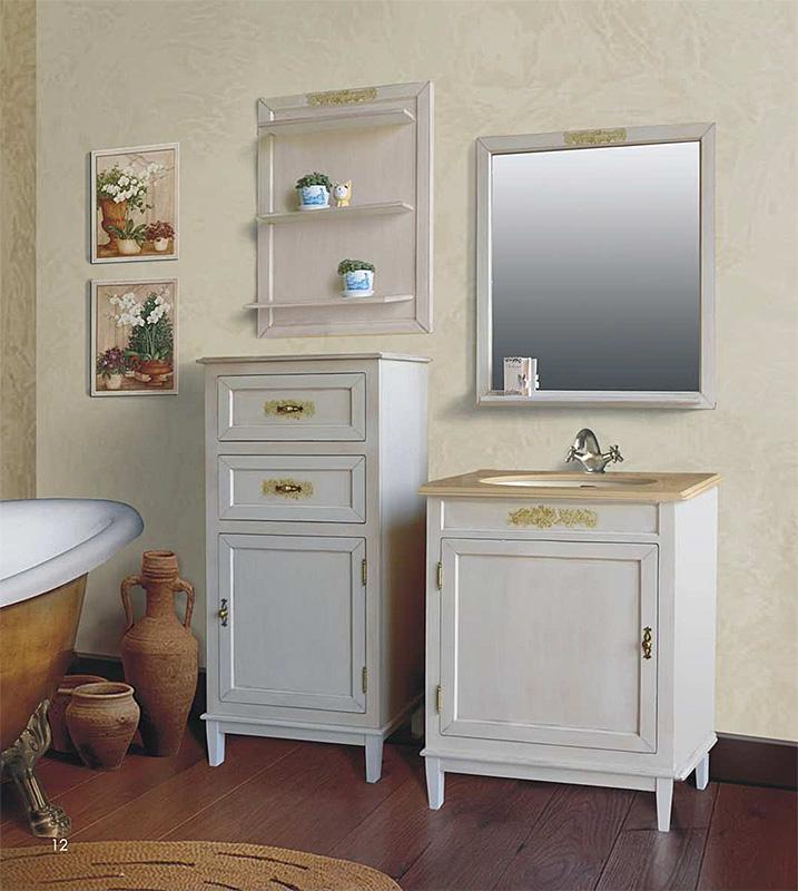 Марсель 265 Old ivory (слоновая кость состаренная)Мебель для ванной<br>Тумба с раковиной Атолл Марсель 265 со встроенной столешницей и раковиной Devit.<br>