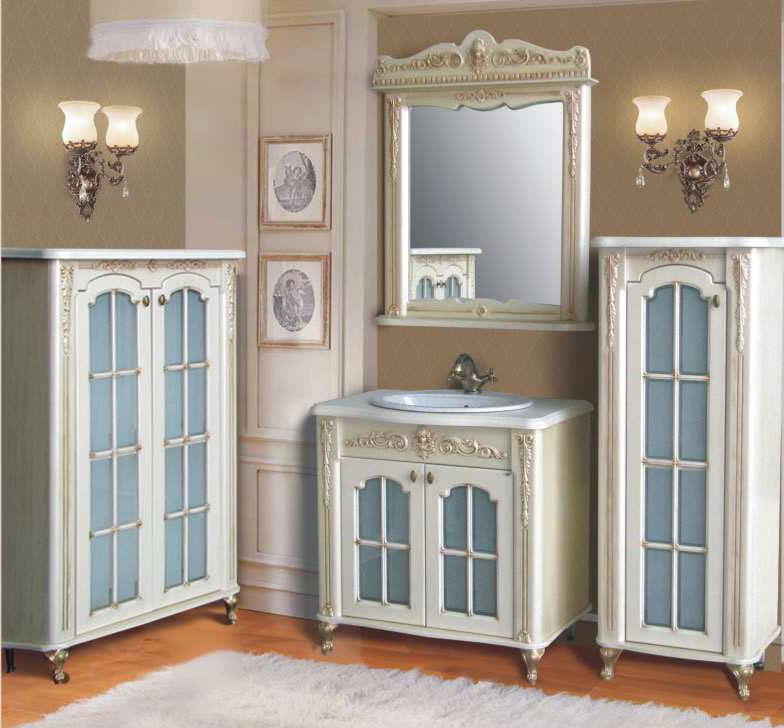 Бисмарк ivory (слоновая кость)Мебель для ванной<br>Тумба с раковиной Атолл Бисмарк со столешницей и раковиной Devit.<br>