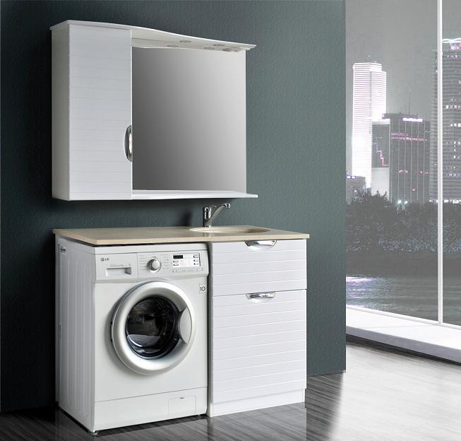 Бавария lucido (белый глянец)Мебель для ванной<br>Тумба с литой раковиной Атолл Бавария для установки над стиральной машиной.<br>