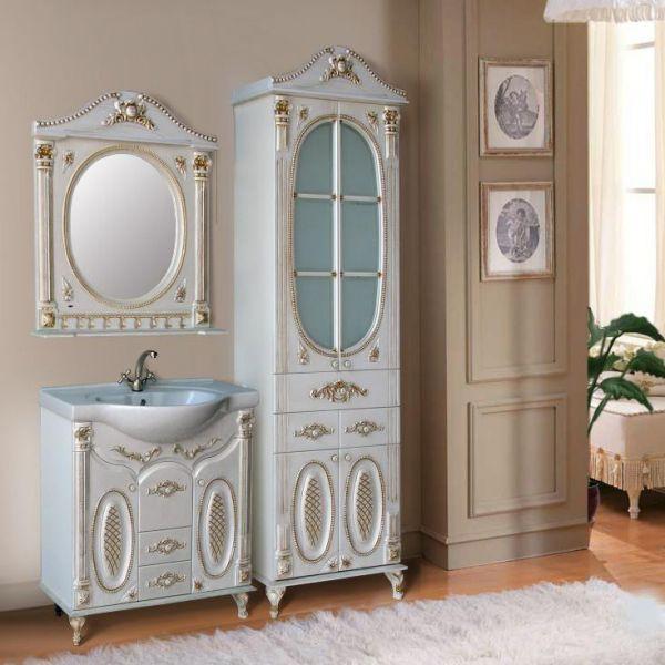 Наполеон 287 белый жемчуг с патиной сереброМебель для ванной<br>Тумба Атолл Наполеон 287 в комплекте с раковиной Дрея 85. Покрытие тумбы – пленка ПВХ.<br>