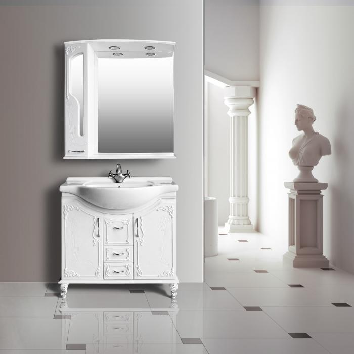 Барселона 285 lucido ( белый глянец)Мебель для ванной<br>Тумба с раковиной Атолл Барселона 285.<br>
