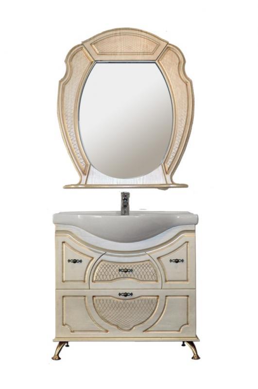 Тулуза-2 ясень с золотым узоромМебель для ванной<br>Тумба Атолл Тулуза-2 в комплекте с раковиной Дрея 85.<br>