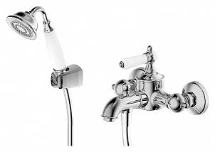 Art/River F675109C-B ХромСмесители<br>Смеситель для ванны c коротким изливом Bravat Art/River F675109C-B однорычажный. В комплект входит смеситель, лейка, шланг, настенный держатель, эксцентрик.<br>