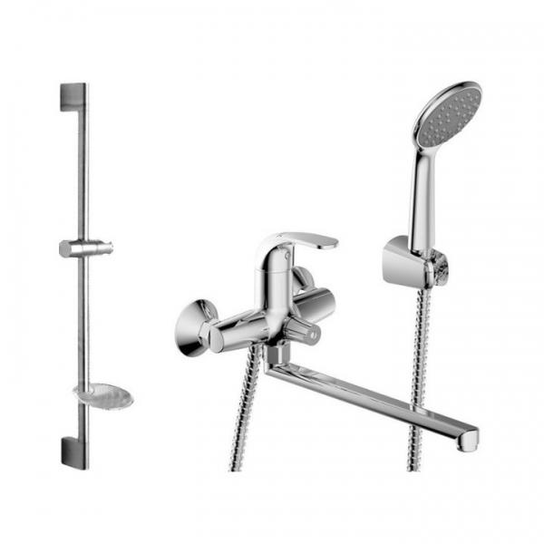 Fit F00416C  ХромСмесители<br>Промонабор Fit 2 в 1. Смеситель для ванны с длинным изливом Bravat Fit Cet F00416C с душем и душевой стойкой. Оснащение аэратор, эксцентрики, душевой шланг, крепление, душевая лейка, дивертор, накладки. В комплект входит смеситель, лейка, шланг, настенный держатель.<br>
