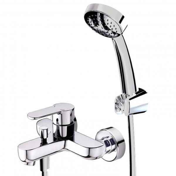 Stream F63783C-B ХромСмесители<br>Смеситель для ванны с коротким изливом Bravat Stream F63783C-B с кнопочным переключателем и аэратором.  В комплект входит смеситель, 1-функциональная душевая лейка (ABS-пластик), шланг 1500 мм, настенный держатель.<br>