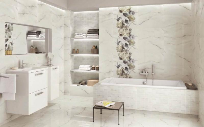 Carrara White Inserto Flower 58,3x59,3 панноКерамическая плитка<br>Керамическое панно Opoczno Carrara  White Inserto Flower 58,3x59,3. В комплекте 12 шт.<br>