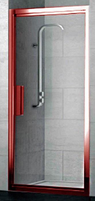 Lybre 900x2000 профиль scotch brite красный/стекло прозрачноеДушевые ограждения<br>Складная дверь в нишу Sturm Lybre LRP3IR08792TR 1-секционная. Размер 900x2000 мм.<br>