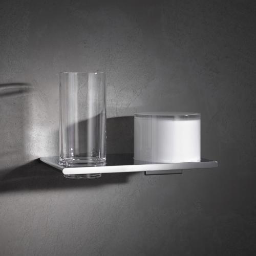 Edition 400 11553 019000 ХромАксессуары для ванной<br>Двойной держатель со стаканом и дозатором KEUCO Edition 400 11553 019000. Цвет хром.<br>
