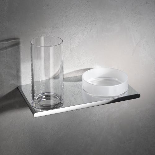 Edition 400 11554 019000 ХромАксессуары для ванной<br>Двойной держатель стакана и чаши для мелочей KEUCO Edition 400 11554 019000. Цвет хром.<br>