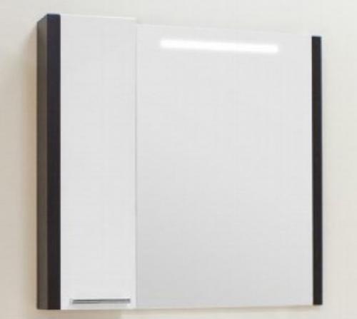 Брайтон 80 1A186102BR500 Белое/ВенгеМебель для ванной<br>Зеркало-шкаф Акватон Брайтон 80 1A186102BR500 с подсветкой.<br>
