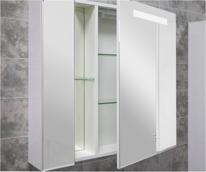 Марко 80 1A181102MO010 Белый глянецМебель для ванной<br>Зеркало-шкаф Акватон Марко 80 1A181102MO010 с подсветкой.<br>