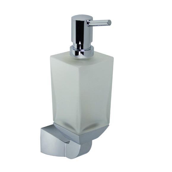 Square 83.430.910.00 ХромАксессуары для ванной<br>Дозатор для жидкого мыла Dornbracht Square 83.430.910.00. Цвет - хром, сосуд из хрусталя, матовый.<br>