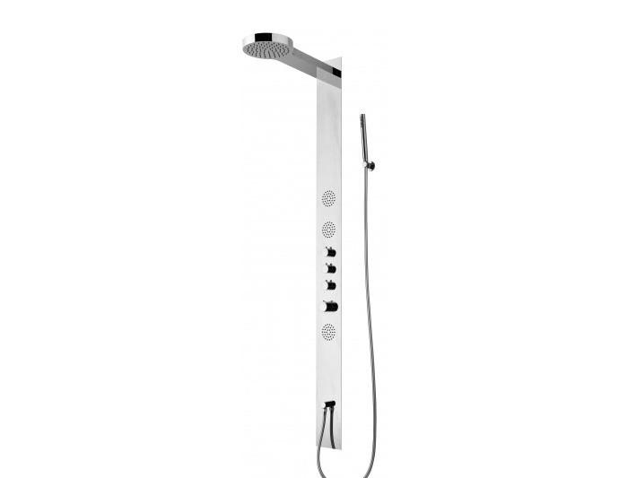 Actima Kappa С термостатом, без изливаДушевые панели<br>Душевая панель EXCELLENT ACTIMA Kappaс термостатом, без излива.  Особенности: отдельный верхний душ c эффектом «дождь+каскад», интегрированные гидромассажные форсунки, а также ручной душ (лейка-латунь) с держателем на стене.<br>