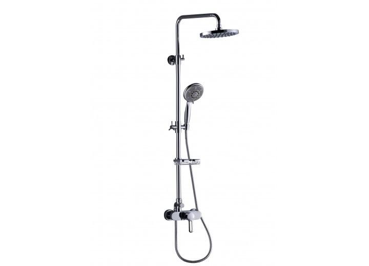 Actima Active Rain Без изливаДушевые системы<br>Душевой комплект Excellent Actima Active Rain. В набор входят: душевая стойка с однорычажным смесителем для душа, верхний душ D=20 см,  регулируемая по высоте стойка 870-1200 мм, шланг силиконовый Silver 1500 мм длинной, мыльница латунная.<br>