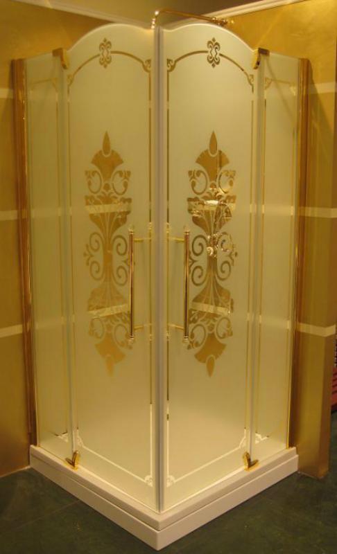Studio Victorian SV0101.031.344 Профиль и фарнитура бронза, матовое стеклоДушевые ограждения<br>Кабина для углового входа, две распашные двери размер 900*900 мм, высота 2010 мм, стекло декорированное frozen grace, профиль и фурнитура бронза.<br>