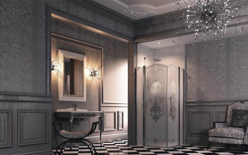 Studio Victorian SV0802.031.344 Бронзовый профиль, матовое стекло с декоромДушевые ограждения<br>Душевое ограждение 1/4 круга, бронза Huppe STUDIO VICTORIAN<br>