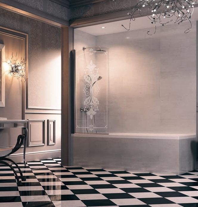 Design Victorian DV1401.092.344 Профиль глянцевый хром, стекло с декором, левая.Душевые ограждения<br>Шторка для ванны. Профиль глянцевый хром. Стекло с декором. Общая ширина 750-765 мм, высота 1560 мм.<br>