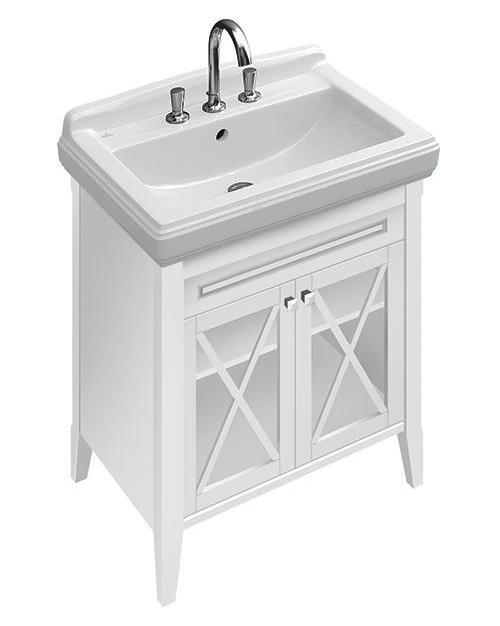 Hommage 899520 напольная ярко-белый CeramicPlusМебель для ванной<br>Тумба под раковину Villeroy&amp;Boch Hommage 899520R2 с покрытием CeramicPlus, керамические ручки, 1 полка.<br>