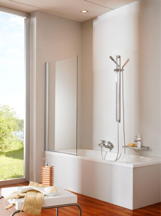 Design Pure 8P2080.087.321 Профиль матовое серебро, прозрачное стеклоДушевые ограждения<br>Шторка на ванну Huppe Design pure с распашной складывающейся дверью. Каленное стекло 6 мм<br>
